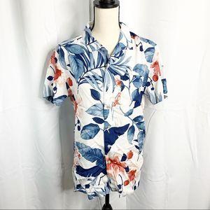 Marc Anthony leaf print Hawaiian aloha slim fit S